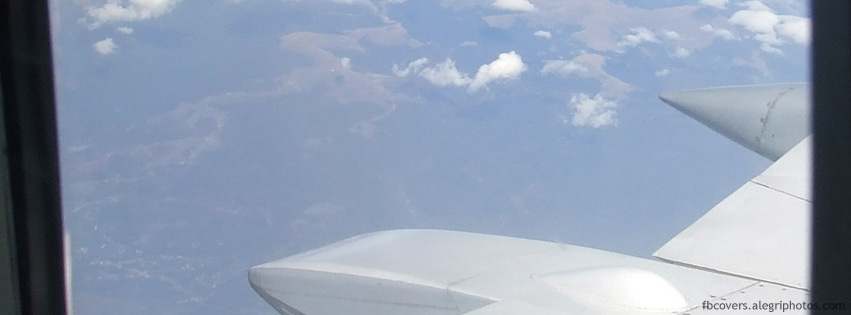Aircraft window during flight Facebook cover photo