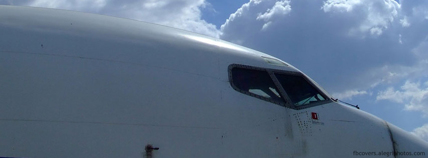 Airliner cockpit with clouds in background Facebook cover photo
