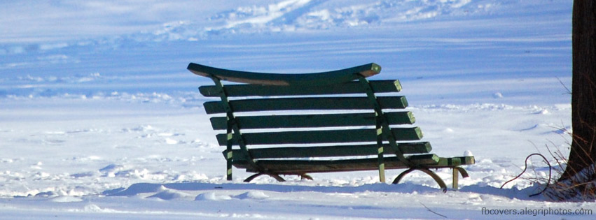 Bench in snowy park Facebook cover photo
