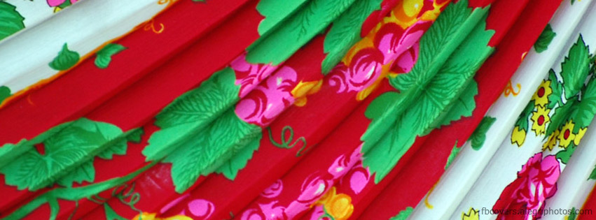 Colorfull textile with fringes Facebook cover photo