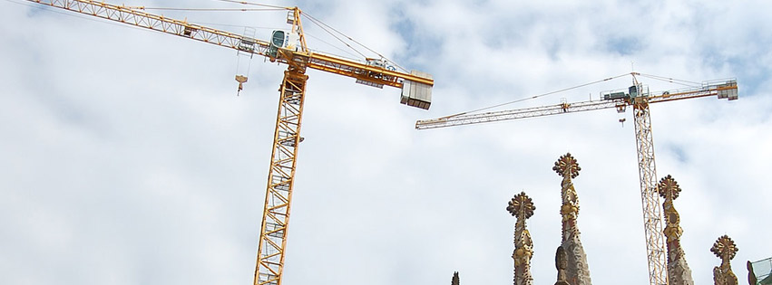 Construction site with cranes near Sagrada Familia Facebook cover photo