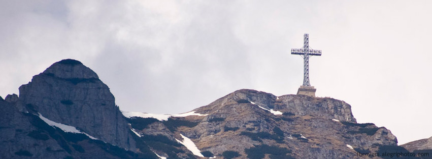 Mountain peak with a monument Facebook cover photo