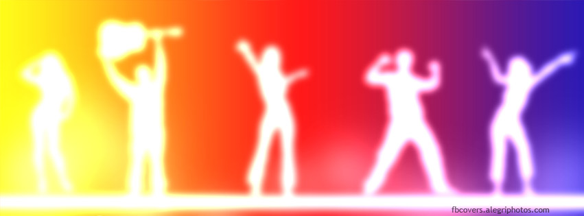 Neon light people dancing Facebook cover photo
