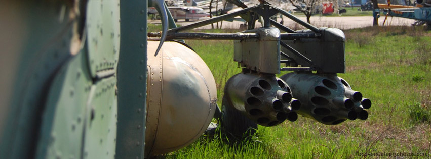 Old and rusty army helicopter Facebook cover photo