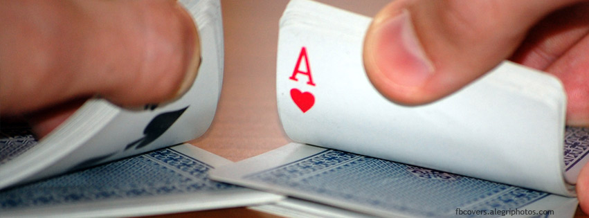 Shuffling cards in casino Facebook cover photo
