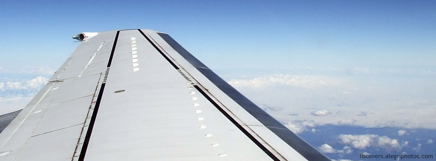 View over airplane wing Facebook cover